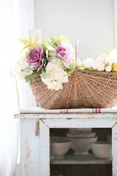 Dreamy Whites: Living Room, Gordon Hill Flower Shop, Ornamental Kale, and a French Apple Basket Chandeliers, Basket Flower Arrangements, Floral Arrangements, Ornamental Kale, Apple Baskets, Diy Chalkboard, Happy Spring, Spring Time, Flower Basket