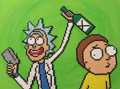 Rick and Morty perler beads by huzzahandfancypants