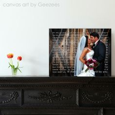 Your wedding portrait made into a piece of art for your first home together. Such a sweet keepsake!