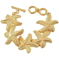 Starfish Bracelet Gold Plated Bridal Bridesmaid Fashion Jewelry... (€19) ❤ liked on Polyvore featuring jewelry, bracelets, gold plated bangles, gold plated jewelry, starfish bridal jewelry, starfish bracelet and gold plated jewellery
