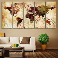 Extra Large Watercolor World Map Print, World Map Wall Art, Canvas Art Print Brawn Watercolor World Map , Large Wall Color Splashed on Map,