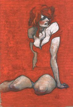 Claire Wendling, seated female figure in red, pastel drawing