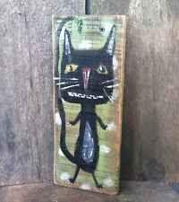 Kitty Cat Black Original Painting Primitive Folk Art Wood By Annette Gambrel