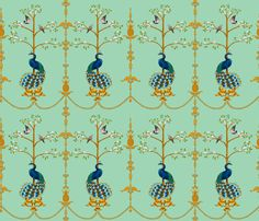 RococoPeacock fabric by yvonne_herbst on Spoonflower - custom fabric Fab website, I'm tired imagining the possibilities!!