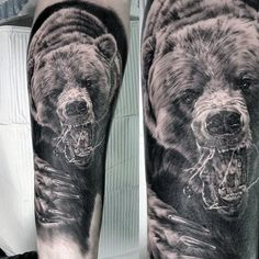 Realistic Bear Claw Mens Forearm Sleeve Tattoos
