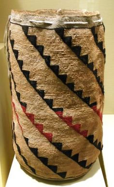 Cylinder Bags: Also called Sally Bags and Corn Husk Bags, these bags were made from cornhusk, hemp, string, and yarn using a continuous weave that eliminates seams. Originally, these bags were used for storing foods, such as roots, as the tightness of the weave keeps out dust and dirt.