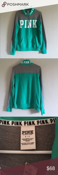 Victoria's Secret VS PINK perfect RARE Half zip Victoria's Secret PINK Green / Gray RARE Hard to find anywhere Quarter zip Pull over sweater.  New with tags - sold OUT in stores!! unused -   Size Small   Victoria's Secret PINK Kangaroo pocket. PINK Victoria's Secret Sweaters