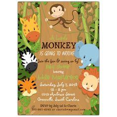 Baby Shower Invitations, Birthday Invitations, Monkey Baby, Shower Time, Jungle  Theme, Baby Shower, Baby Ideas, Jungles, Party Themes