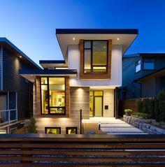 Fachada de casa moderna de dos pisos y diseño de interiores | Construye Hogar