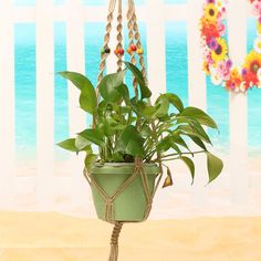 High-quality 42 Inch Colour Bead Flowerpot Plant Hanger Macrame Jute Rope Garden Decorative Cord with Hook - NewChic