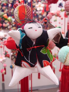 Japanese Tsurushi - bina doll for Hina matsuri (girl's day) the stuffed dolls are displayed on strings are traditionally  infused with a prayer for the health and future of a daughter or granddaughter