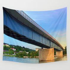 Bridge across the river Danube II The River, River Bank, Wall Art Prints, Canvas Prints, Danube River, Bike Trails, Biking, Green Architecture, Metal Wall Art