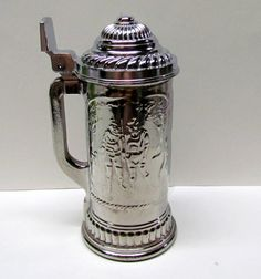 Vintage Avon Lidded Beer Stein Hunters Scene 1970s, Silver Finish on Glass - Home Decor - Collectible Avon by VINTAGEandMOREshop on Etsy https://www.etsy.com/listing/247613417/vintage-avon-lidded-beer-stein-hunters