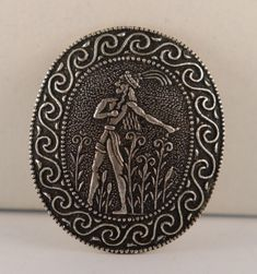 Vintage 900 Silver Greek Crete Ancient Tourist Brooch