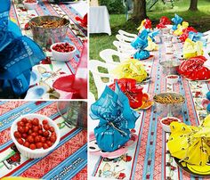 This is decor for a southern-style summer picnic. Doesn't it just make you want to drink lemonade and eat watermelon?