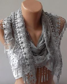 Grey Lace and Elegance Shawl / Scarf  with Lace Edge by womann, $17.90