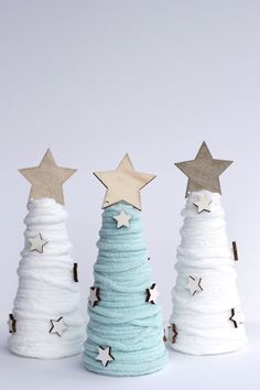 World Market Inspired Yarn Cone Trees - Hello Central Avenue Christmas Tree Crafts, Little Christmas Trees, Christmas Holidays, Christmas Decorations, Holiday Decor, Knitted Bunnies, Cone Trees, Star Ornament, Ornaments