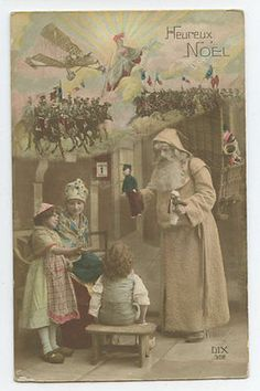 Santa Claus at War Christmas original old WWI ww1 French Photo postcard b