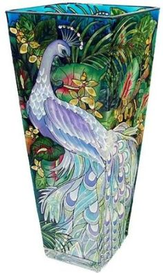 Amazon.com - Amia 10-Inch Tall Hand-Painted Glass Vase Featuring a Peacock Design