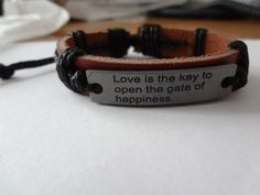 Free Ship. No Fee, Handwork Genuine Leather Men's or Lady's Love Bracelet $4.25 (I)