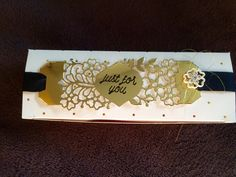 My Paper Pumpkin August 2015 Chalk it up to Love: Alternate project - Extras:  Gold foil, so in Love Stamp Set, Falling in Love Embellishment, Gold Metallic thread, Versa Mark and black embossing powder. Chocolate Bar