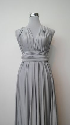 LilZoo Full Ballroom Length Convertible Infinity MultiWay Wrap Dress in metallic Silver with Free Bandeau Shimmery winter wedding grey