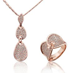 Wholesale Top High Quqlity Fashion Popular Jewelry Set Of 18 K Gold Plated Necklace &Ring Sets For Lady