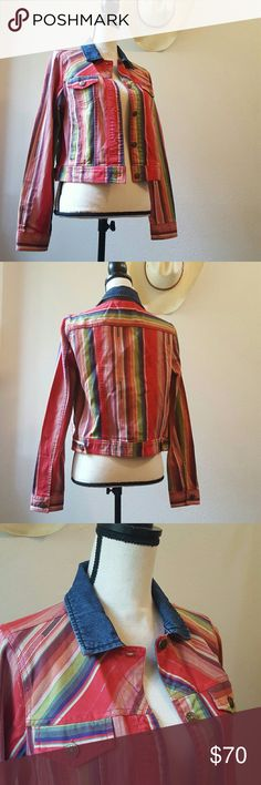 """' Scully ' Serape Ethnic Woven Denim Collar Jacket Lovely soft new jacket, in vivid multicolor Mexican blanket patterned, 4 Pocket, riveted star embossed buttons, long sleeve, denim collar, side waist tabs, 20"""" approximate flat length, 18"""" armpit to armpit. Southwestern style, cowgirl style, boho chic. Never worn or laundered. NWOT. Scully Jackets & Coats Jean Jackets"""