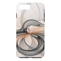 Abstract Anthracite Gray Sienna Shapes Fractal Art iPhone 7 Plus Case