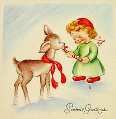 angel with deer and candy cane