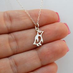 FashionJunkie4Life - Tiny Sterling Silver Penguin Charm Necklace. Use coupon code PIN10 for 10% off your entire purchase!
