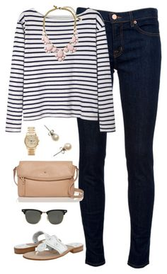 """""""field trip today"""" by classically-preppy ❤ liked on Polyvore featuring J Brand, Wood Wood, Jack Rogers, Kate Spade, Michael Kors, J.Crew and Ray-Ban"""