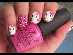 ▶ hello kitty nail art for short nails tutorial - YouTube. Plz watch this video it's a pretty easy design to do if u have the right tools