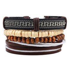 4pcs 1 Set Hot sale Leather Bracelet Male Wooden beads Cuff Braided Wrap Bracelets & Bangles Women Men Jewerly #AfricanFashion
