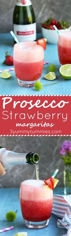 Not your average margarita with fresh strawberries, lime and orange juices and a Prosecco topping.