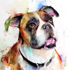 BOXER Watercolor Dog Print by Dean Crouser por DeanCrouserArt
