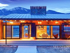 Prefab house, mountain home, montana, green design ARCHITECTURE by Medicine Hat Inc. INTERIOR DESIGN by Shack Up Studio PHOTO by Audrey Hall MORE AT http://www.mountainliving.com/article/green-made-locally