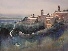 Assisi, Italy I by Keiko Tanabe Watercolor ~ 12 x 16 inches (30 x 41 cm)