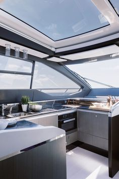 Azimut presents the new Azimut - a carbon-fiber motor yacht with a top speed of 35 knots. Azimut Yachts, Motor Yacht, Carbon Fiber, Construction, Boats, Guns, Top, Beautiful, Building