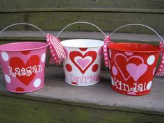 Personalized Valentine Bucket assorted colors-5 QT.. 22.00, via Etsy.