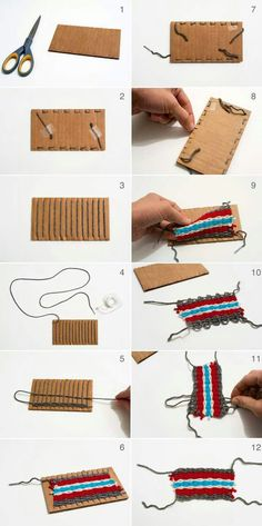 HOW TO MANUFACTURE: Braided yarn on cardboard cutouts for children. We love this tutorial as … - yarn crafts Yarn Crafts, Crafts For Kids, Arts And Crafts, Craft Kids, Weaving For Kids, Ideias Diy, Weaving Projects, Camping Crafts, Loom Weaving