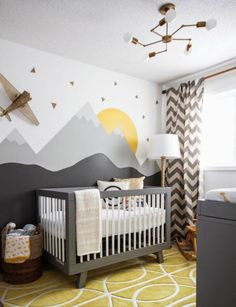 Baby Nursery: Easy and Cozy Baby Room Ideas for Girl and Boys an excellent example of a gender neutral nursery, in grays, yellows and whites. Modern, comfortable and still a very stylish nursery! Baby Room Themes, Baby Boy Rooms, Baby Bedroom, Baby Boy Nurseries, Kids Bedroom, Kids Rooms, Baby Cribs, Room Baby, Baby Room Ideas For Boys