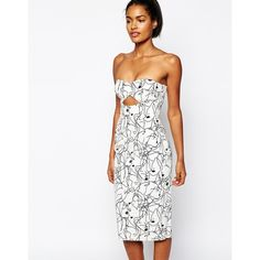 Shakuhachi Bustier Dress in Faces Print ($90) ❤ liked on Polyvore featuring dresses, white, mixed print dress, white print dress, bustier dress, print dress and white bustier