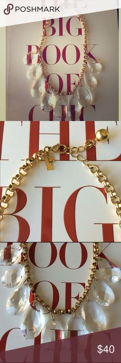 """kate spade Statement Necklace kate spade Statement Necklace. Drop stones are about 1.5"""" and clear so they go great with any outfit! Gold plated with spade detail. Perfect for the office or a night out. In good condition! About 17 inches in length with ability to make a little longer. kate spade Jewelry Necklaces"""