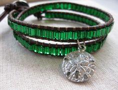 Emerald Sand Dollar Wrap - coastal leather wrap bracelet Fall bracelet silver green Autumn colors sealife jewelry