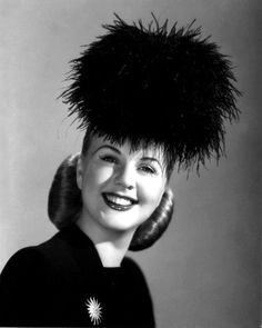 "Deanna Durbin - ONE OF MY ALL-TIME FAVORITE HATS!!!  From ""LADY ON A TRAIN"" & it has a matching muff!"