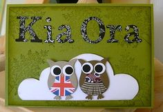 Kiwi Owls by for Waitangi/New Zealand Day Cards and Paper Crafts at Splitcoaststampers School Displays, Library Displays, Waitangi Day, Harmony Day, Owl Punch Cards, Art For Kids, Crafts For Kids, International Craft, Kindergarten Projects