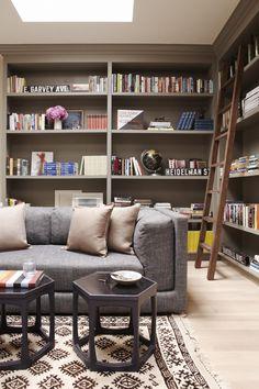 built in bookshelves with ladder