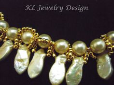 Champagne Pearls and Gold Necklace and Earring by KLJewelryDesign, $33.50