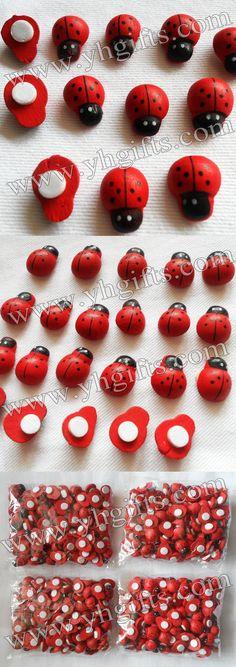 5000PCS/LOT.Wood ladybug stickers,1.5X1.2cm.Kids toys,scrapbooking kit,Early educational DIY.Kindergarten crafts.Classic toy